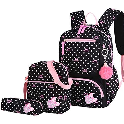 3Pcs/Set Printing School Bags Backpack Schoolbag Fashion Kids Lovely Backpacks For Children black