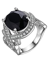 AWLY Jewelry Womens 18K White Gold Plated Oval Black Agate CZ Infinity Symbol Ring Wedding Band Silver