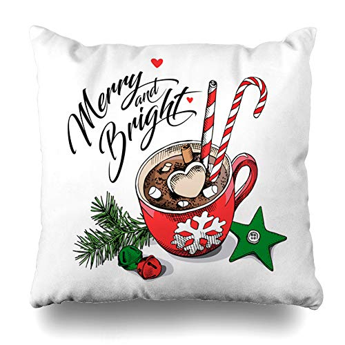 Ahawoso Throw Pillow Cover Aroma Bells Red Cup Coffee Marshmallows Cinnamon Lollipop Cafe Food Drink Holidays Beverage Break Home Decor Pillow Case Square Size 18 x 18 Inches Zippered Pillowcase from Ahawoso