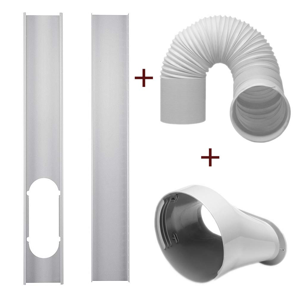 dezirZJjx Air Conditioner Accessories, 2Pcs Window Slide Kit Plate +5.9'' Window Adapter Tube Connector +5.90'' Exhaust Hose for Portable Air Conditioner by dezirZJjx
