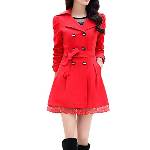 Amazon.com: Women Fashion Turn-Down Collar Coat, Loose Winter Warm Classic Double-Breasted Jacket with Belt: Clothing
