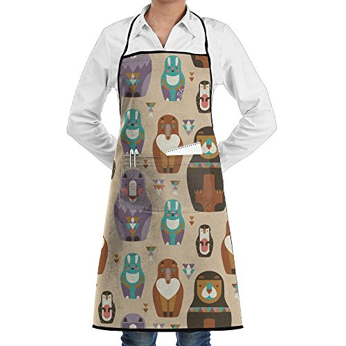 LCZ Animals Russian Dolls Fashion Waterproof Durable Apron With Pockets For Women Men Chef ()