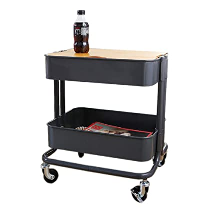 Trolley Coffee Table.Amazon Com Xiaoyan End Table 2 Tier Side Table With Wheels Wrought