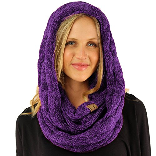 CC 2Tone Soft Chunky Warm Pullover Knit Long Loop Infinity Hood Cowl Scarf Purple