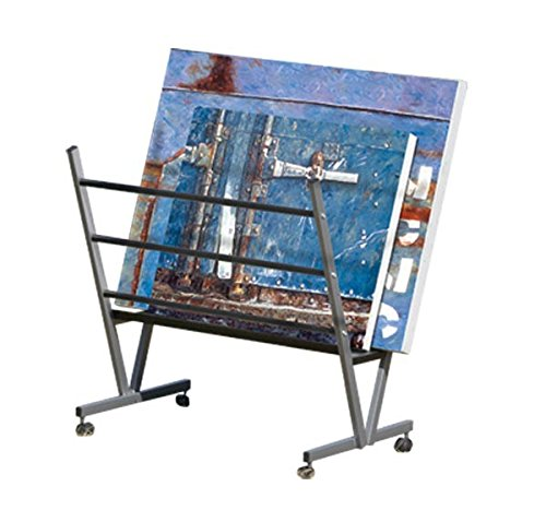 Art Expo Metal Art Print Rack With Rolling Casters Holds Posters, Prints, Canvas Art 22''Hx34''Wx6''D