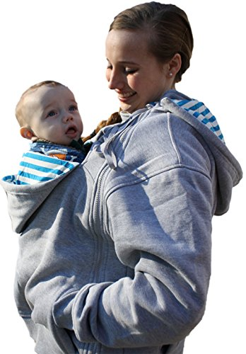 RooCoat Babywearing Coat - Gray with Blue Stripes - Medium