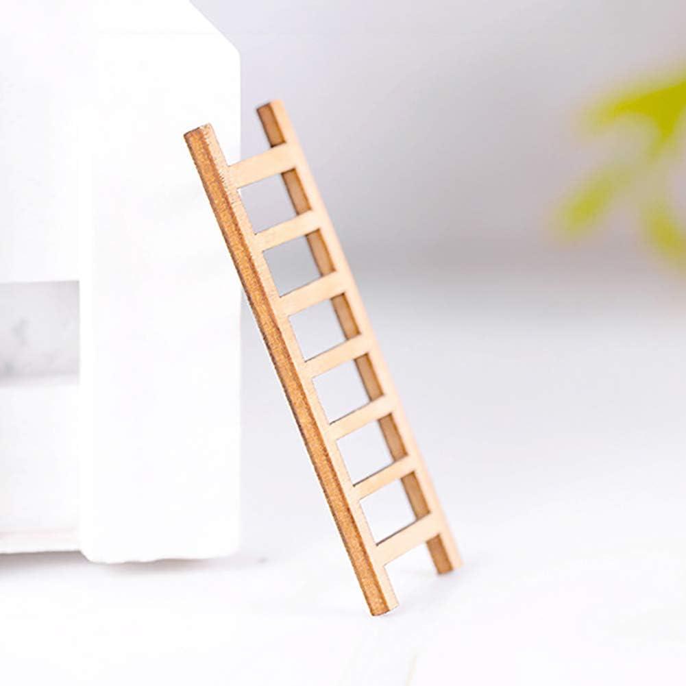 PULABO 3 St/ücke Miniatur Leiter Holzstufenleiter Puppenhaus Fee Garten DIY Micro Landschaft Decor Hohe Qualit/ät
