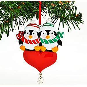 PERSONALIZED CHRISTMAS ORNAMENT KIT PENGUIN RED COUPLE WITH HEART SNOWFLAKE DANGLE KIT
