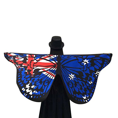 Cute Costumes For Women Uk (Shawl, Doinshop Soft Butterfly Wings Stole Wrap Fairy Nymph Pixie Costume Accessory (Free Size, The British Flag))