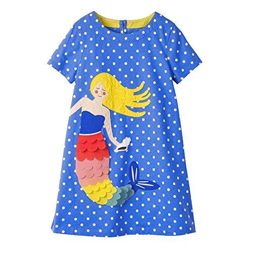 VIKITA Kid Girls Cute Blue Short Sleeve Cotton Dress SMK666 5T120