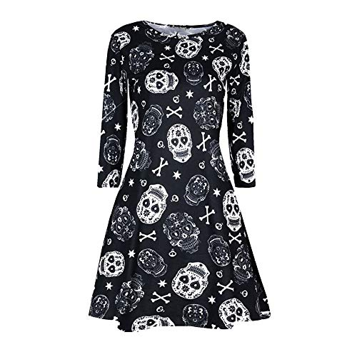 kaifongfu Halloween Dress for Women Long Sleeve Printing Evening Party Prom Dress(Black,S) -