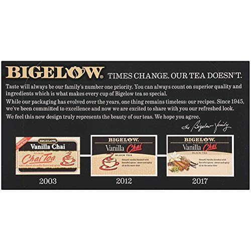 Bigelow Vanilla Chai Tea Bags 20-Count Boxes (Pack of 17). Caffeinated Individual Black Tea Bags, for Hot Tea or Iced Tea, Drink Plain or Sweetened with Honey or Sugar (Vanilla Chai (Pack of 17)) by Bigelow Tea (Image #2)