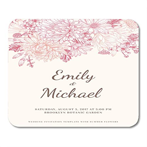Emvency Mouse Pads White Wedding Floral in Vintage Chrysanthemums Asters Daisies Pink Mouse Pad for notebooks, Desktop Computers mats 9.5