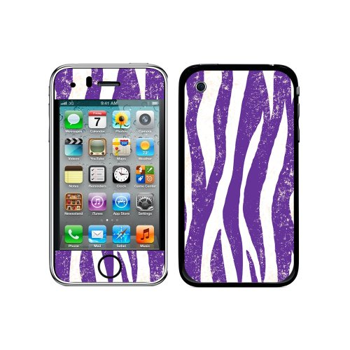 3g Purple Zebra Cover (Graphics and More Protective Skin Sticker Case for iPhone 3G 3GS - Non-Retail Packaging - Zebra Distressed Purple)