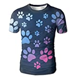 Horizon-t Dog Paw Print Basketball Men's Shorts T-Shirt 3D Printing T-Shirt
