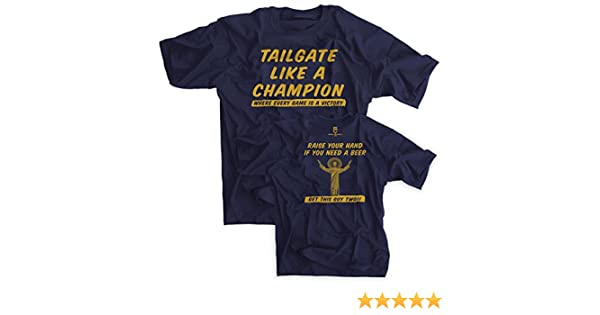 a474fce2265f Amazon.com : Tailgate Like a Champion Notre Dame Fans Navy Shirt - Large :  Everything Else
