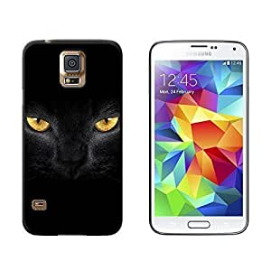 New Style Black Domestic Cat Gold Eyes - Snap On Hard Protective Case for Samsung Galaxy S5 - Black