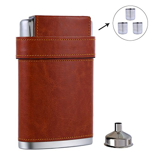 Mohary Pocket Hip Flask 8 Oz with Funnel - Stainless Steel with Leather Wrapped Cover & 100% Leak Proof