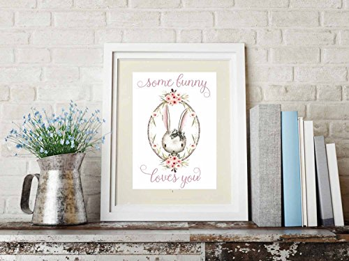 - Some Bunny Loves You Watercolor Whimsical Art Print 8x11 (Pink)
