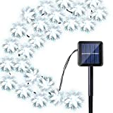Kitchen Bar Facing Wall Qedertek Solar String Lights Flower, 19ft 30 LED Waterproof Garden Decoration Lighting for Indoor/Outdoor, Patio, Lawn, Garden, Christmas, and Holiday Festivals (White)