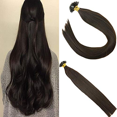 (Sunny Flat Tip Keratin Hair Extensions #2 Darkest Brown Fusion Extensions Pre Bonded Keratin Human Hair Extensions Flat Tip Hair 16inch )