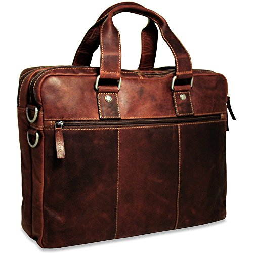 (Jack Georges Mens Voyager Large Double Gusset Top Zip Briefcase in Brown)