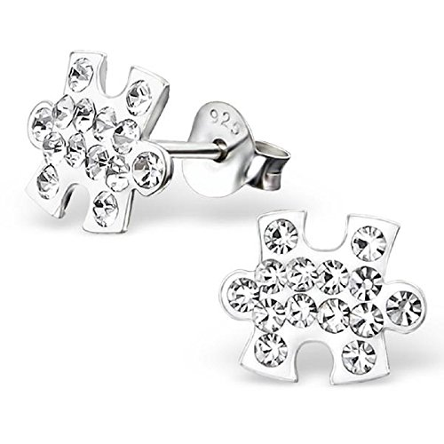 925 Sterling Silver Jigsaw Puzzle Piece w/ White Crystals Stud Earrings 19152