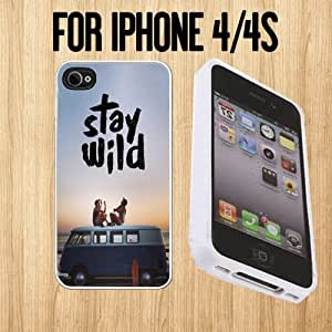 Stay Wild Best Friends Custom made Case/Cover/skin FOR Apple iPhone 4/4S - White - Rubber Case ( Ship From CA)