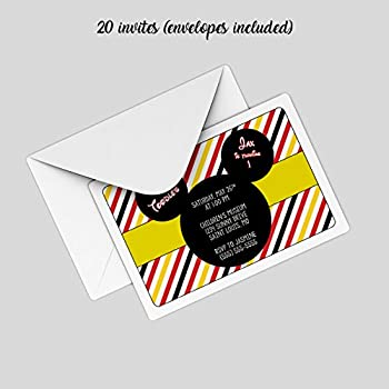 Amazon customized mickey mouse birthday party invitation 20 customized mickey mouse birthday party invitation 20 invites with envelopes stopboris Images