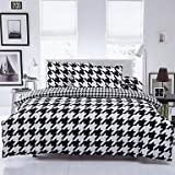 W&P Bed sheets linen Quilt cover set of black and white stripes 4 , queen