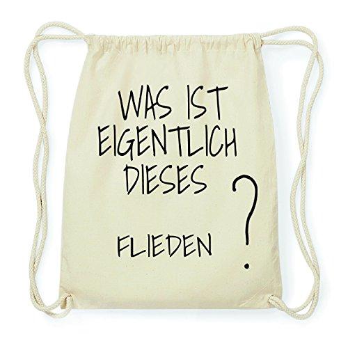 JOllify FLIEDEN Hipster Turnbeutel Tasche Rucksack aus Baumwolle - Farbe: natur Design: Was ist eigentlich