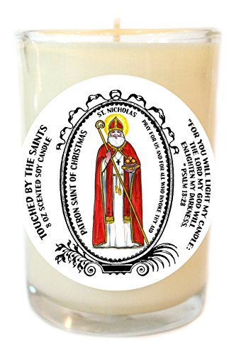 St Nicholas Patron of Christmas 8 Oz Scented Soy Glass Prayer Candle by Touched By The Saints