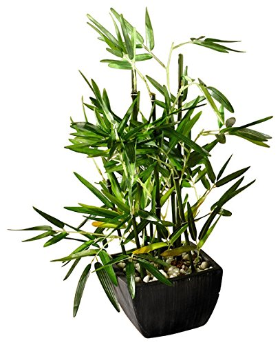 Faux Bamboo Plant- Lush Artificial Bamboo in Pot With River Stones Product SKU: HD222717 ()