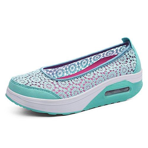 EnllerviiD Women Floral Crochet Slip-On Platform Walking Shoes Shape Ups Fitness Work Out Sneakers 1710 Sky Blue FF359utrlg