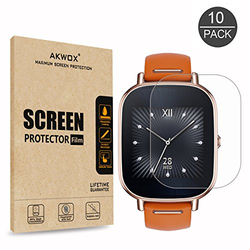 [10-Pack] Screen Protector for ASUS ZenWatch 2 - 1.45 Inch, AKWOX Full Coverage Anti-Bubble Screen Protective Film