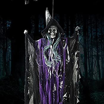 halloween props animated skeleton hanging witch ghost voice activated scary spooky halloween prop decoration purple - Halloween Prop