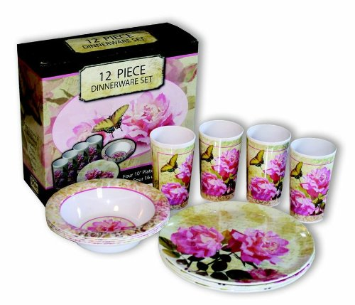 Motorhead Products Floral 12-Piece Dinnerware Set