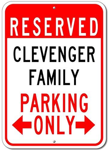 """CLEVENGER FAMILY Parking Sign - Custom CLEVENGER Family Last Name Aluminum Sign - 12""""x18"""""""
