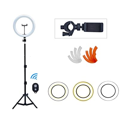 Dimmable for YouTube Streaming Portrait//Macro Photography,63 Stand KLI Ring Light with Built-in Stand,for Selfie Makeup Camera 10 inch Adjustable Color-Temperature 3200K-5600K