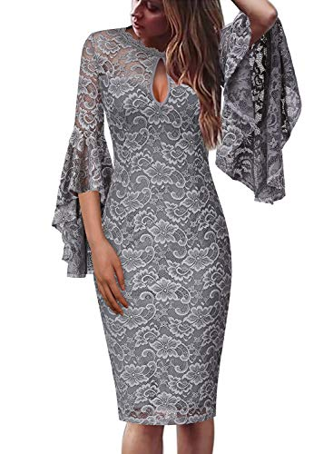 (VFSHOW Womens Grey Floral Lace Keyhole Front Ruffle Bell Sleeves Fitted Cocktail Party Sheath Dress 960 Gry M)
