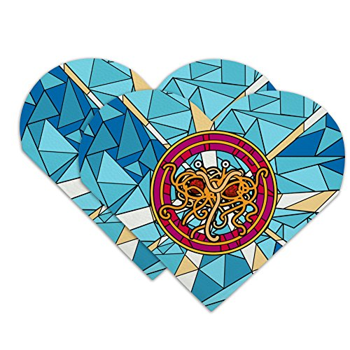 Flying Spaghetti Monster Stained Glass Heart Faux Leather Bookmark - Set of ()