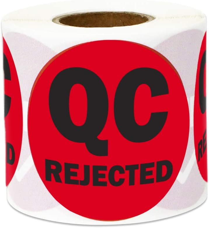 300 Labels - QC Rejected Stickers for Quality Control Inventory Warehouse (1 Inch, Red - 1 Roll)