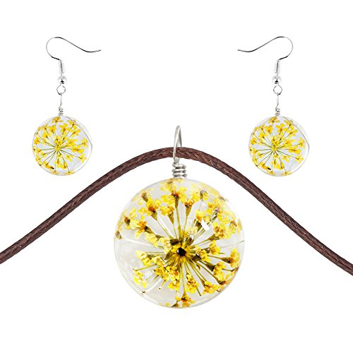 VEINTI+1 Handmade Creative Natural Dried Flower with Round Shape Transparent Glass Pendant Necklace/Earrings (Yellow, Jewelry Set)