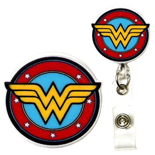 Justice League Wonder Woman Inspired Symbol Decorative ID Badge Holder (Classic Swivel Alligator)