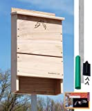 BestNest Triple-Celled Bat House Kit with Pole, 250 bats
