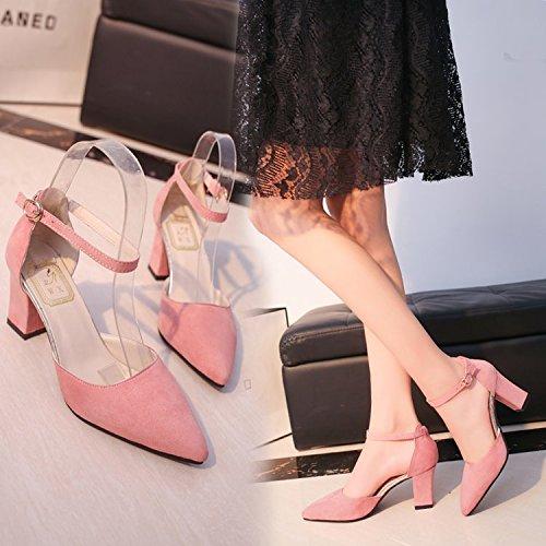Xue Qiqi Ranurados para el Alto Talón Zapatos con Punta audaces Satin luz de Baotou Sandalias Mujer con Solo Zapatos Rosa