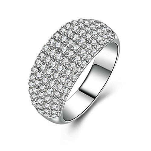 Sterling Silver Enhancer Mounting (Epinki Women Rings, 925 Sterling Silver Ring Proposal Ring Cubic Zirconia Size 6.5)