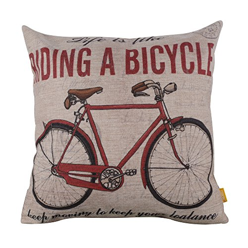 hion Life is Like Riding a Bicycle Burlap Cushion Covers Pillow Case ()