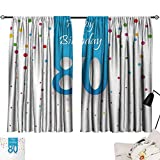 Jinguizi 80th Birthday Curtain for Kitchen Window Abstract Sky Blue Eighty Image on The Colorful Polka Dots Artistic Print Blackout/Room Darkening Curtains Multicolor W55 x L39