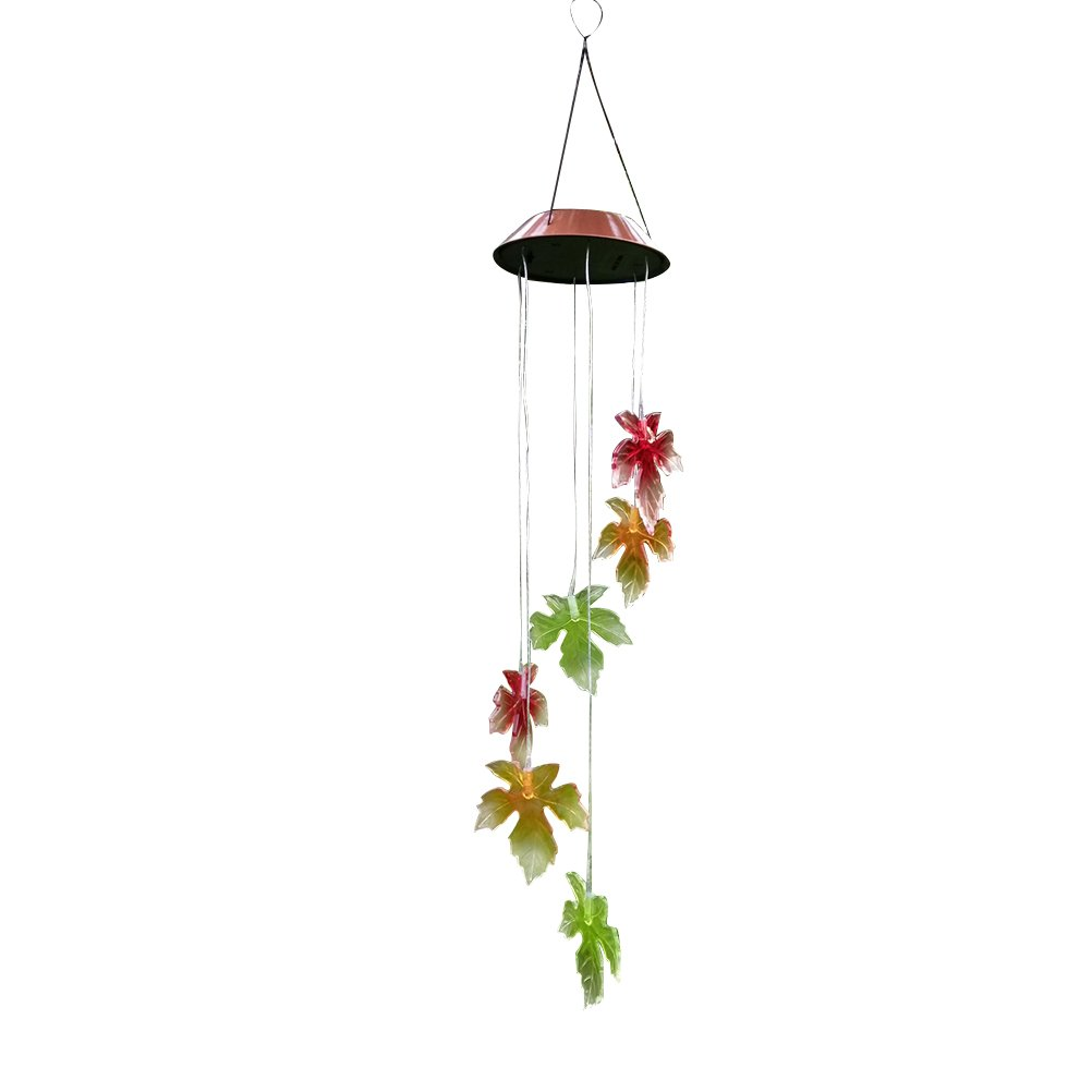 LEDMOMO Wind Chime Lights, Color-Changing Solar Wind Chimes Maple Leaf LED Wind Chimes for Party Balcony Patio Decoration